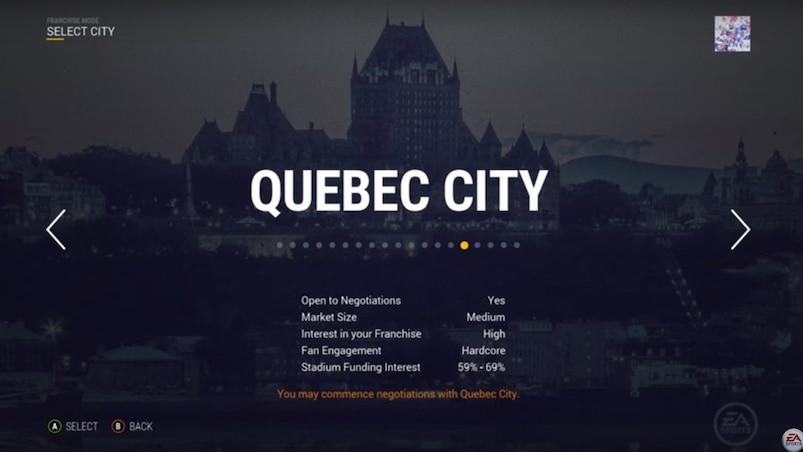 Déménager une équipe à Québec dans NHL 17