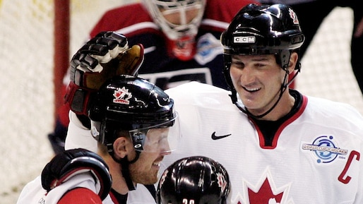 Team Canada's Richards celebrates goal against Team USA in World Cup of Hockey
