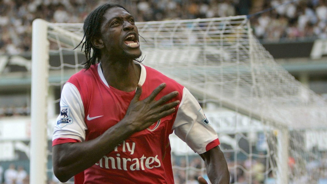 Arsenal's Adebayor celebrates scoring against Tottenham Hotspur during their English Premier League soccer match in London