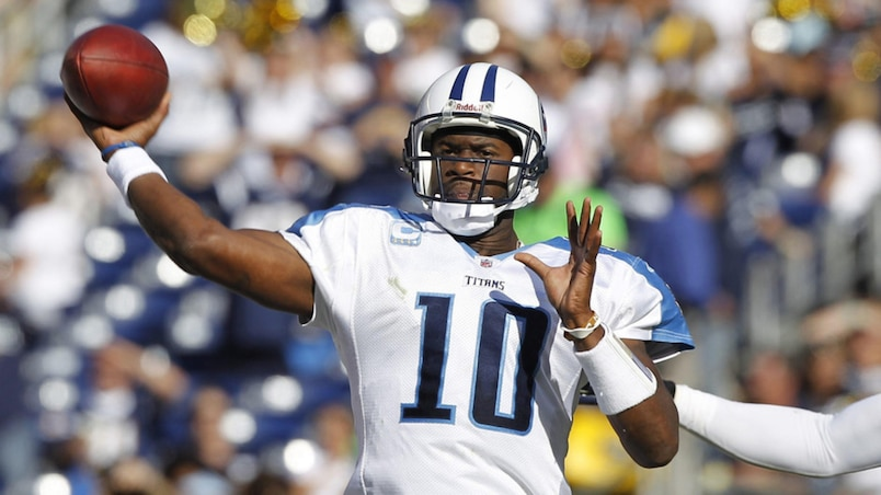 Tennessee Titans quarterback Vince Young passes against the San Diego Chargers during their NFL football game in San Diego