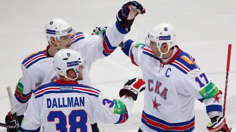 SKA St. Petersburg's Kovalchuk celebrates a goal against Dynamo Moscow during their Kontinental Hockey League game in Moscow