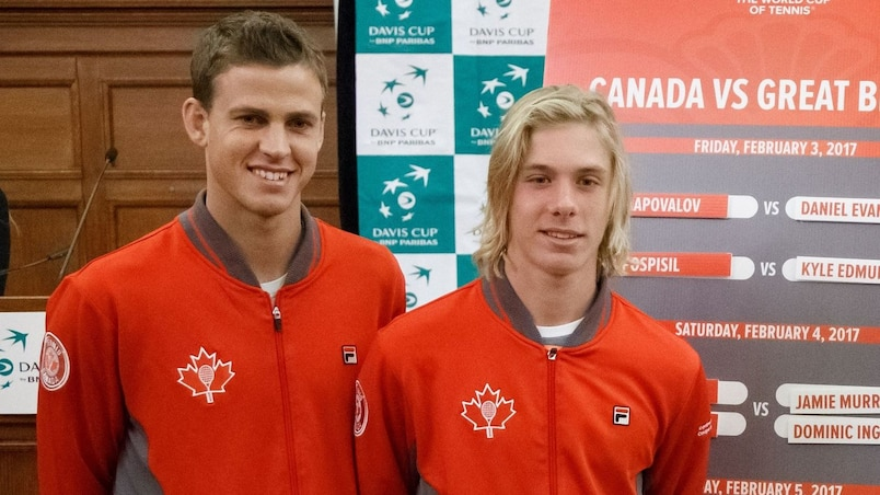 OTTAWA, ON - FEBRUARY 2: (L-R) Vasek Pospisil and Denis Shapovalov of Canada pose for a photo with Dan Evans and Kyle Edmund of Great Britain during the draw ceremony of the Davis Cup World Group tie between Great Britain and Canada at Parliament Hill on February 2, 2017 in Ottawa, Ontario, Canada. Andre Ringuette/Getty Images for LTA/AFP == FOR NEWSPAPERS, INTERNET, TELCOS & TELEVISION USE ONLY ==