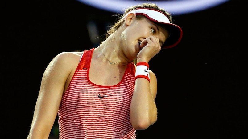 Canada's Bouchard reacts during her second round match against Poland's Radwanska at the Australian Open tennis tournament at Melbourne Park