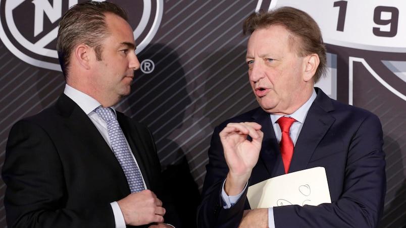 NHL NHL-SENATORS-CANADIENS- NHL Commissioner Gary Bettman, Eugene Melnyk