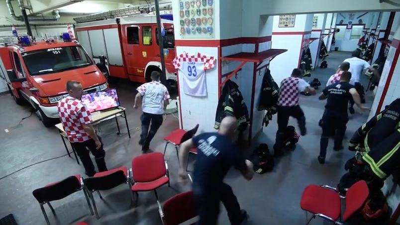 Des pompiers croates abandonnent leur télé en pleine séance de tirs au but pour accomplir leur devoir