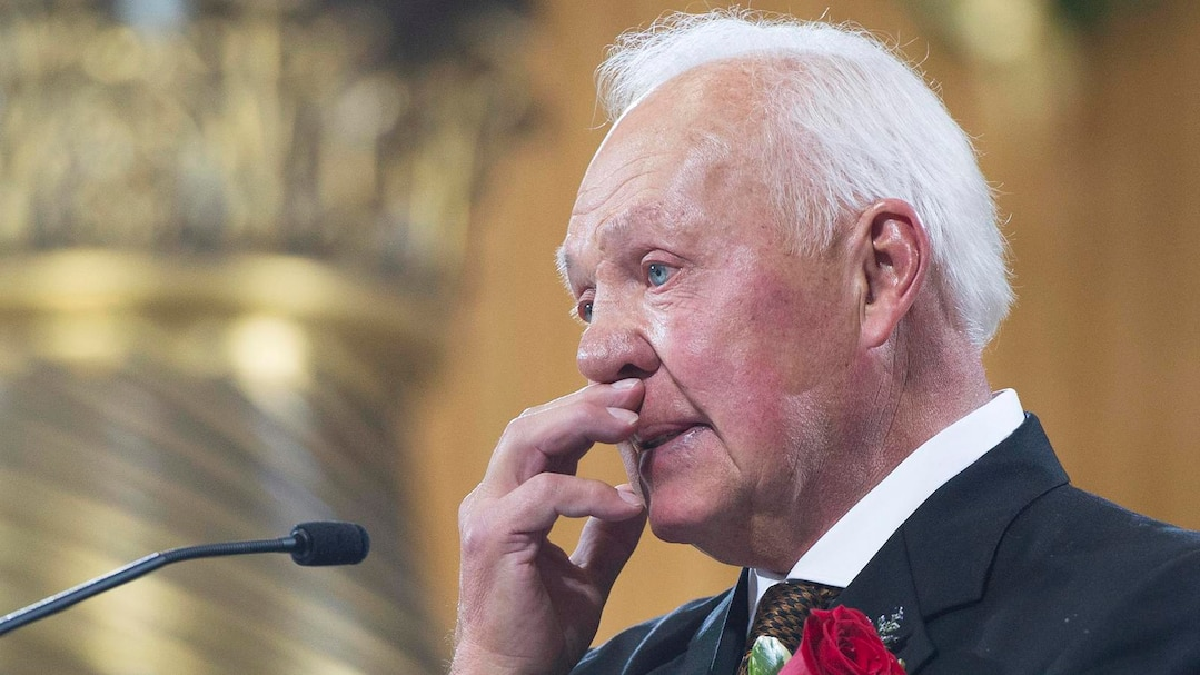 Cournoyer speaks at the funeral for former Montreal Canadiens captain Jean Beliveau at Mary Queen of the World Cathedral in Montreal